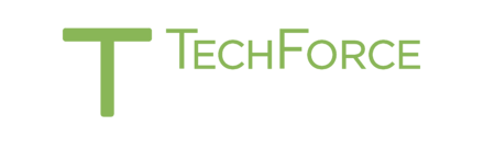 The logo of TechForce Foundation, a 501(c)(3) charity, featuring inverted colors for hosting on dark backgrounds. To learn more about TechForce visit www.techforcefoundation.org