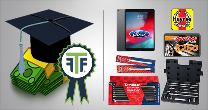 FTR Awards 2020_Prize Graphic_Grand Prize Winner_A gray rectangle split by a vertical line. On the left side of the line is a graduation cap on top of a pile of clip art money. The TechForce badge logo is on a prize ribbon in the foreground of the image. On the right clockwise from 12 o'clock is the red and white Haynes logo, an image of an AutoZone giftcard, an adaptor set, a ratcheting wrench set, two torque wrenches and an I-Pad Air with the Ford logo on the screen