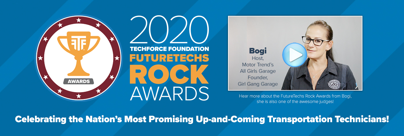 Page Banner. From left to right on a two-toned blue striped background, the 2020 FutureTechs Rock logo and a video thumbnail of celebrity technician Bogi Lateiner, with the words